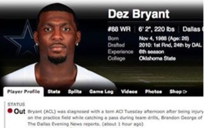Bogus Acl Injury Report On Dez Bryant Used To Scare Fantasy