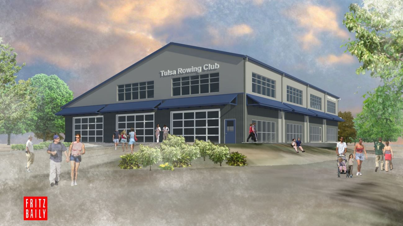 Tulsa Rowing Club boathouse rendering Rendering for