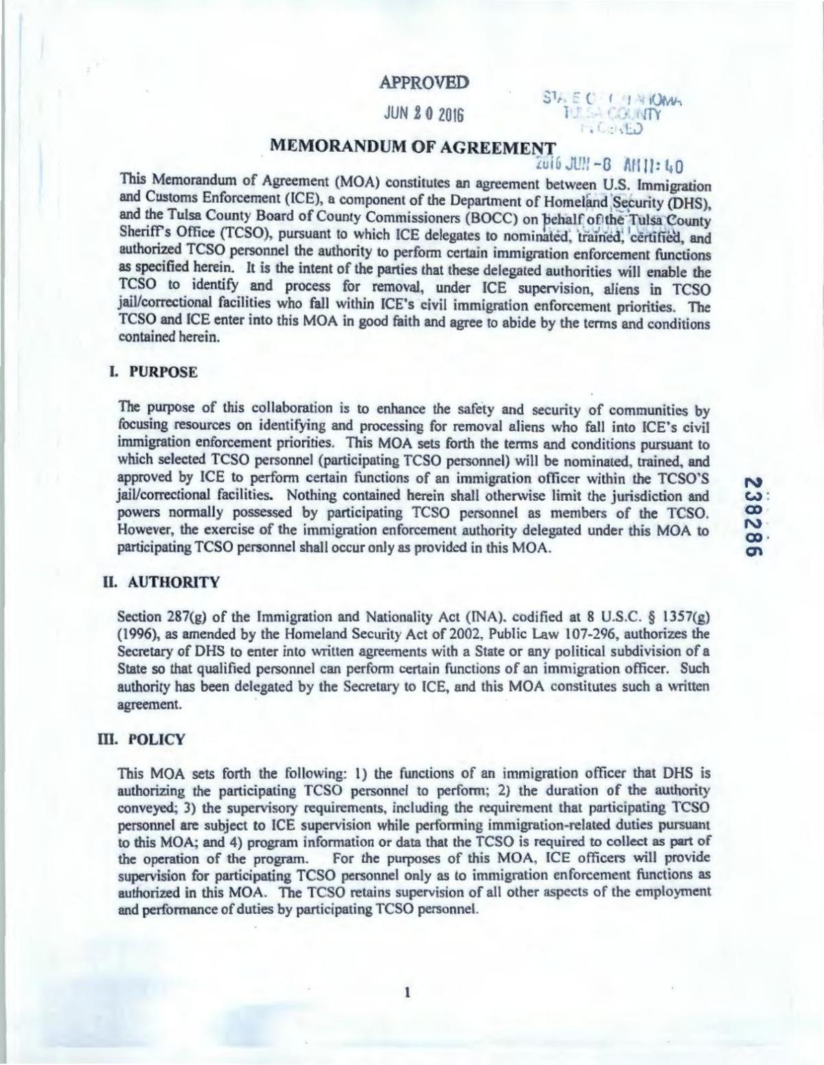 287 (g) program agreement