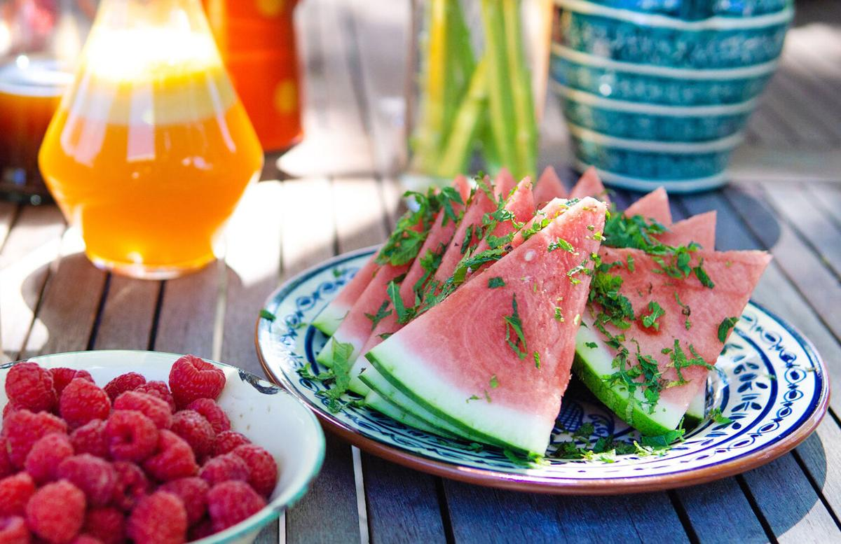Watermelon with mint