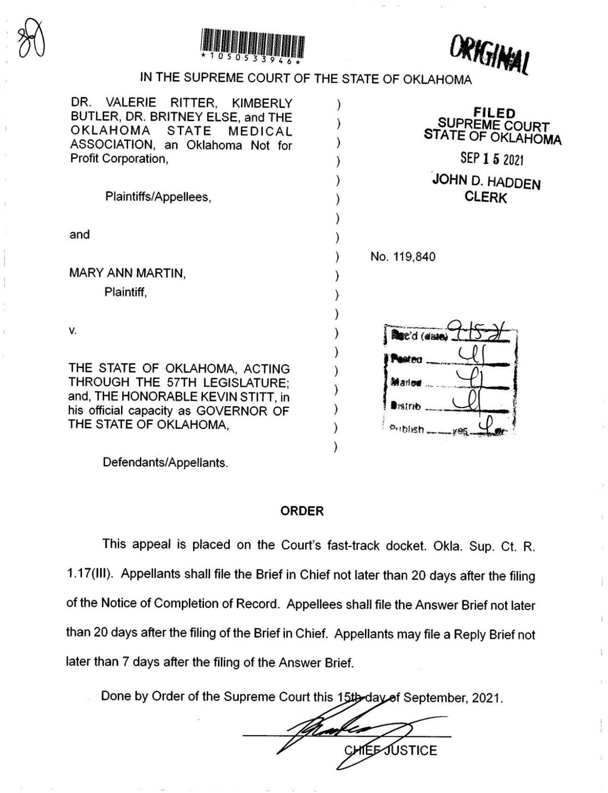 Read the Sept. 15 order from the Supreme Court of Oklahoma chief justice.