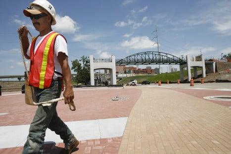 Cyrus Avery plaza's construction nearly finished
