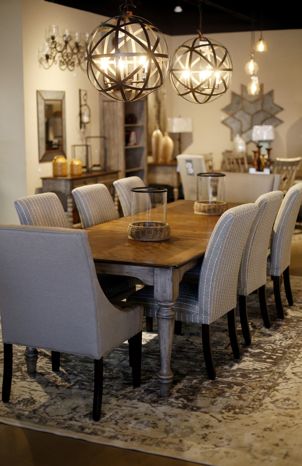 Farmhouse Style Furniture Such As This Dining Table Is A Popular Home Decor Trend And Gray Chairs Make Perfect Match In Neutral Tone