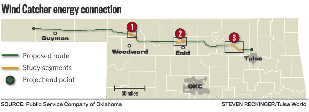 Oklahoma Wind Map.Wind Catcher Power Line Route Could End At Substation In North Tulsa