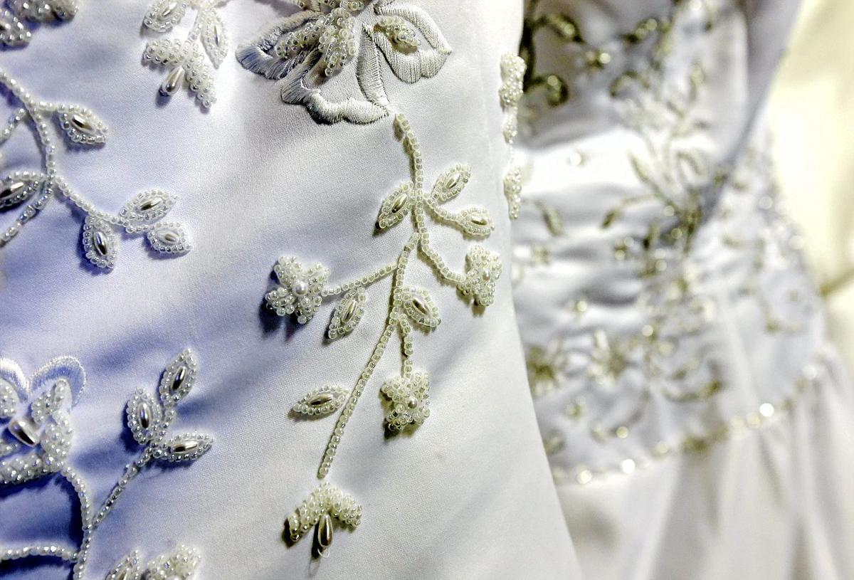 Closeup of detail on prom and wedding dresses