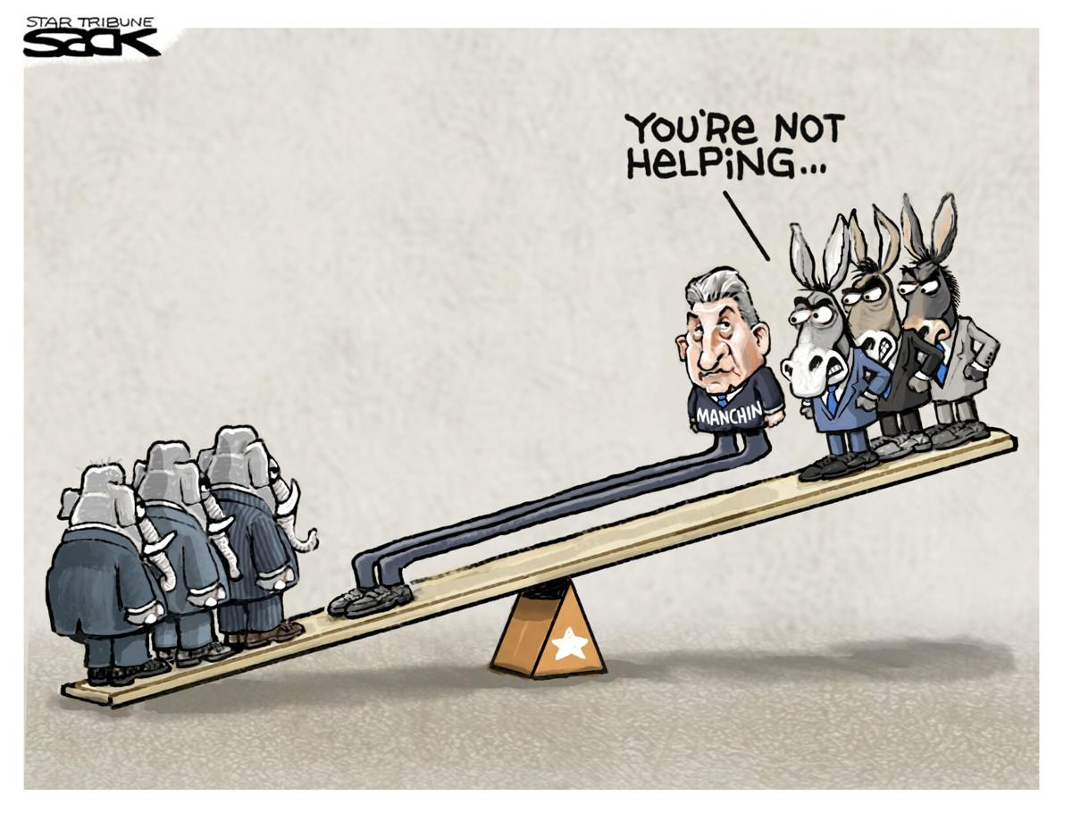 Cartoon: Manchin Balance by Steve Sack
