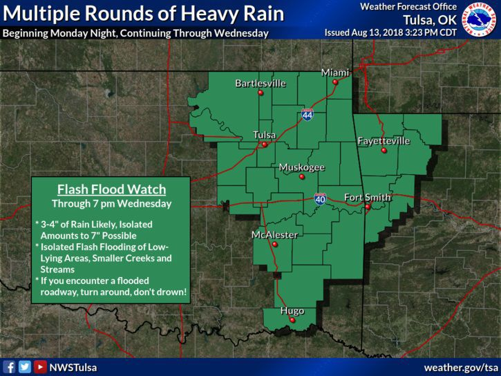 Northeast Oklahoma Could Receive Up To 4 Inches Of Rain Through