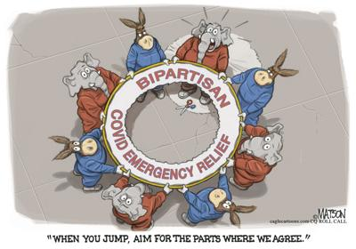 Syndicated Cartoon: Bipartisan COVID Emergency Relief by R.J. Matson (copy)