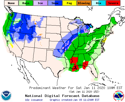 Saturday Jan. 11 forecast