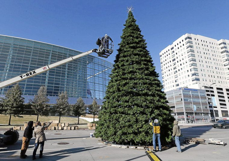 Arvest Tulsa Winterfest 2020 Christmas Tree Winterfest taking shape downtown next to BOK Center | Local News