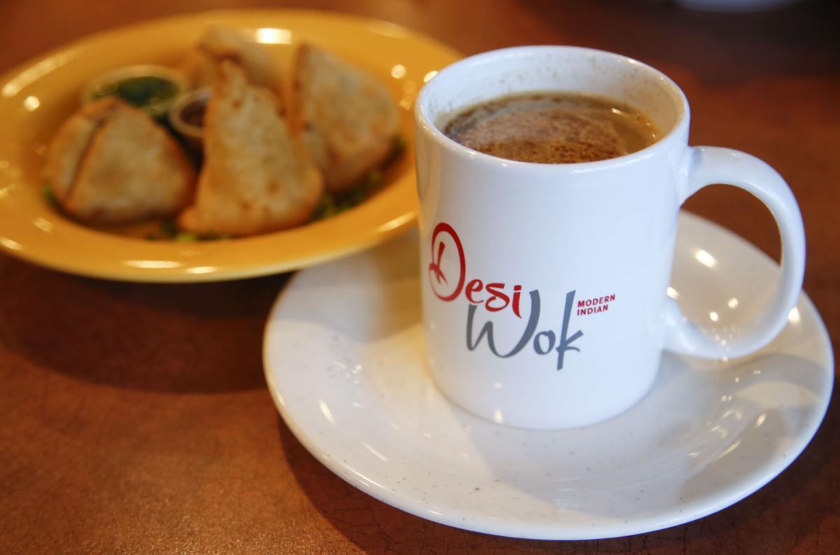 Desi Wok tea and samosas