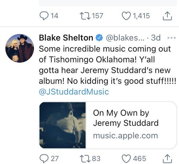 Blake Shelton tweet about Jeremy Studdard