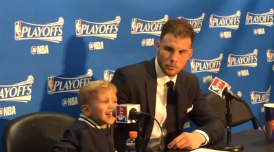 Daddy day care: Blake Griffin's son pops in for Clippers post-game