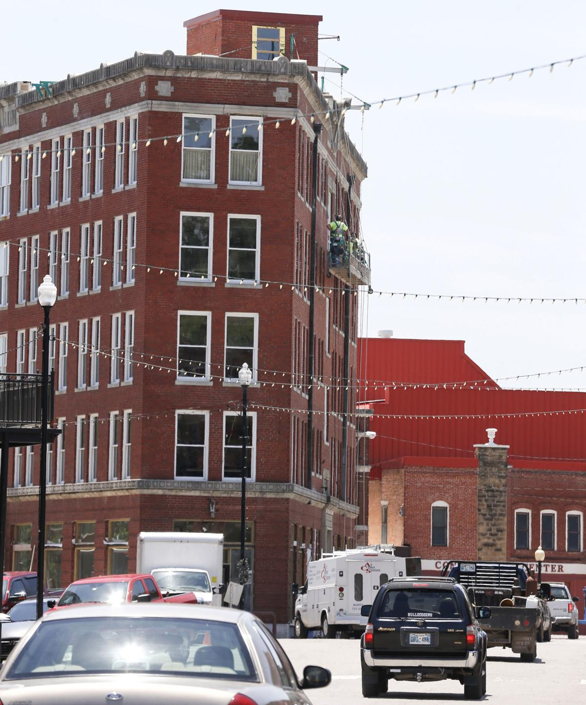 The triangle building undergoes renovation in pawhuska on monday photos by morgan hornsby tulsa world