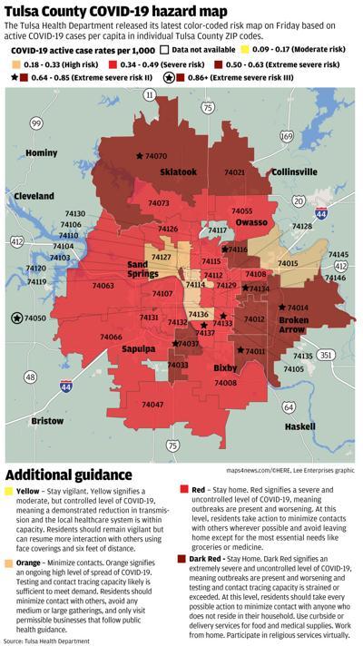 Tulsa County COVID-19 ZIP code map 020921
