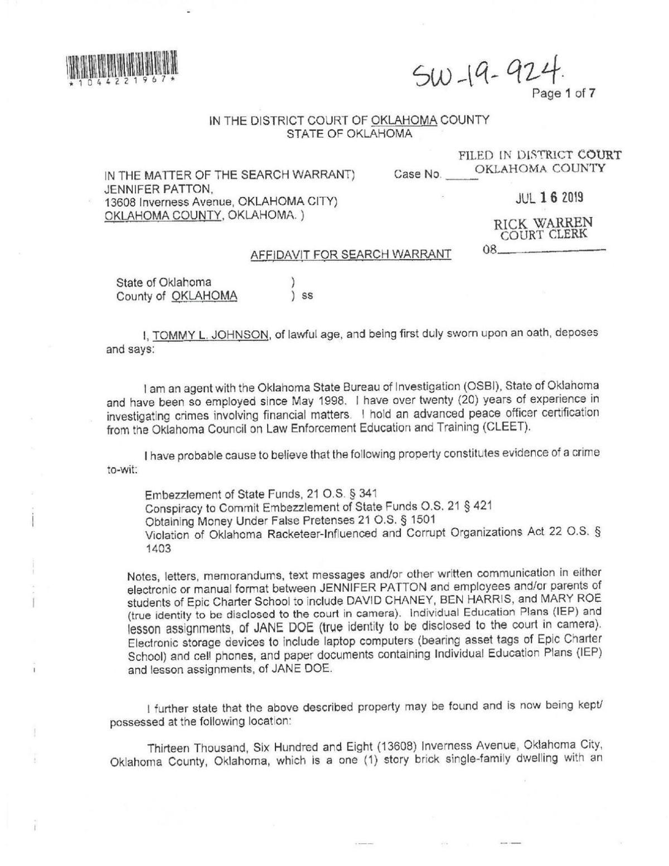 OSBI affidavit for Epic search warrant