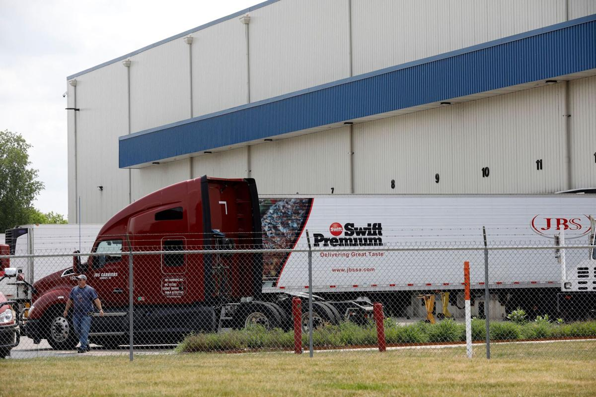 The JBS meat placing plant is viewed in Plainwell, Michigan on June 2, 2021.