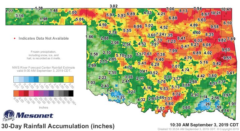 30-day rainfall totals as of Sept. 3
