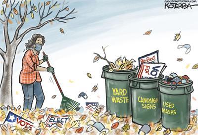 Syndicated Cartoon: Autum Raking by Jeff Koterba