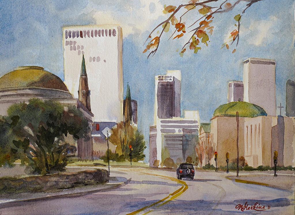 Tulsa skyline watercolor by Nancy Harkins