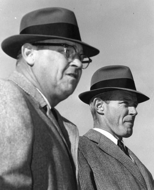 Gomer Jones, left, stands with Bud Wilkinson in 1959 newsok