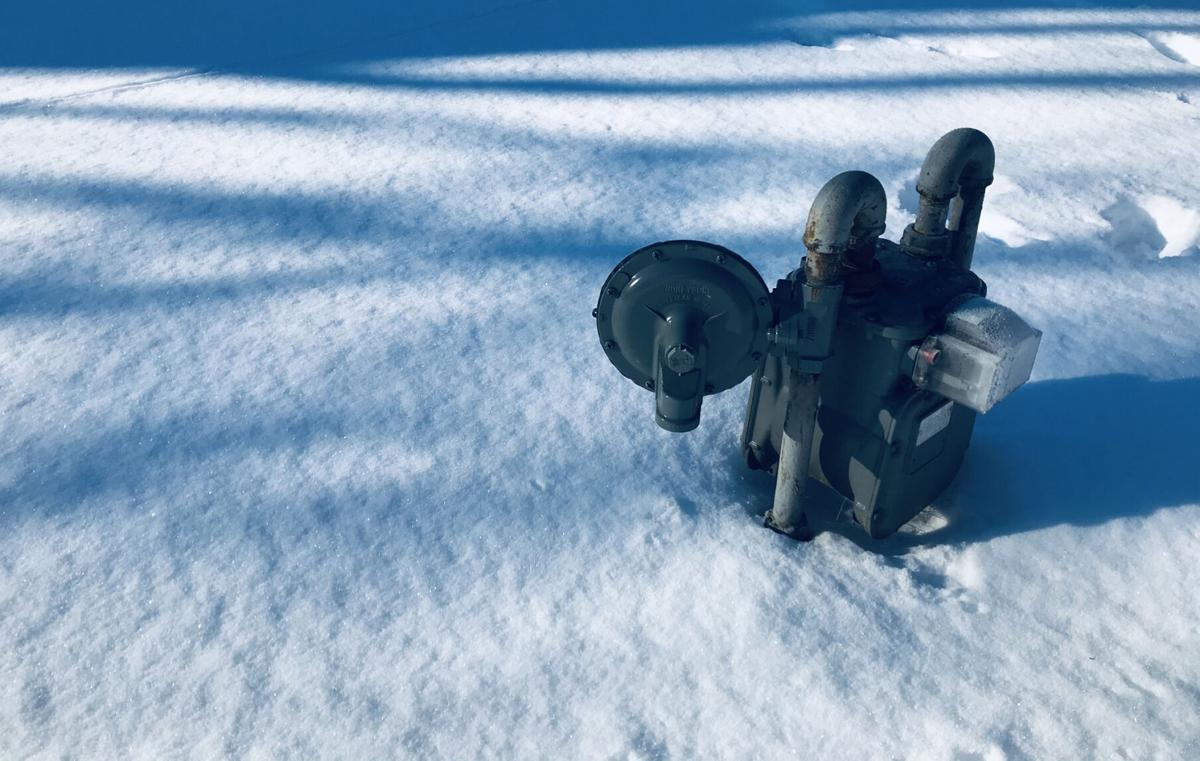 Natural gas meter in snow