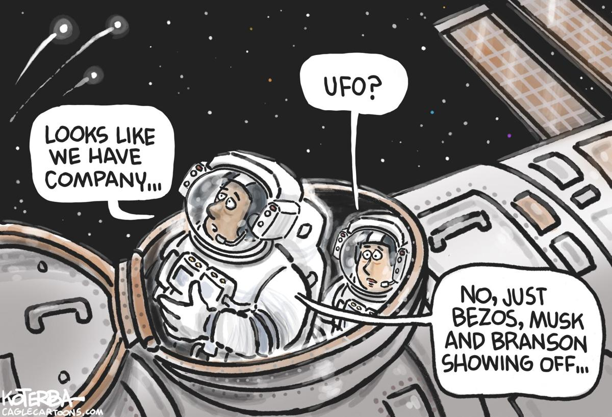 Cartoon: Bezos, Musk and Branson in Space by Jeff Koterba