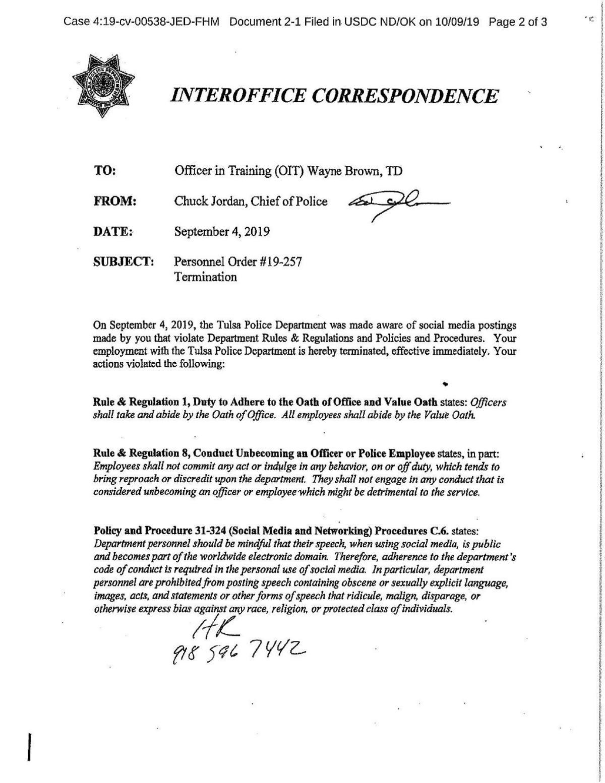 Document: Wayne Brown termination notice