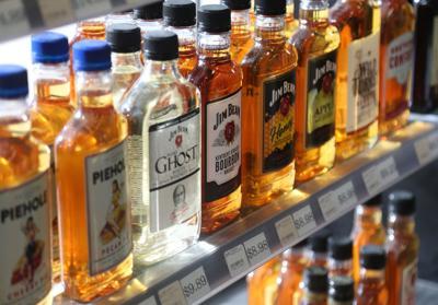 Liquor store bottles