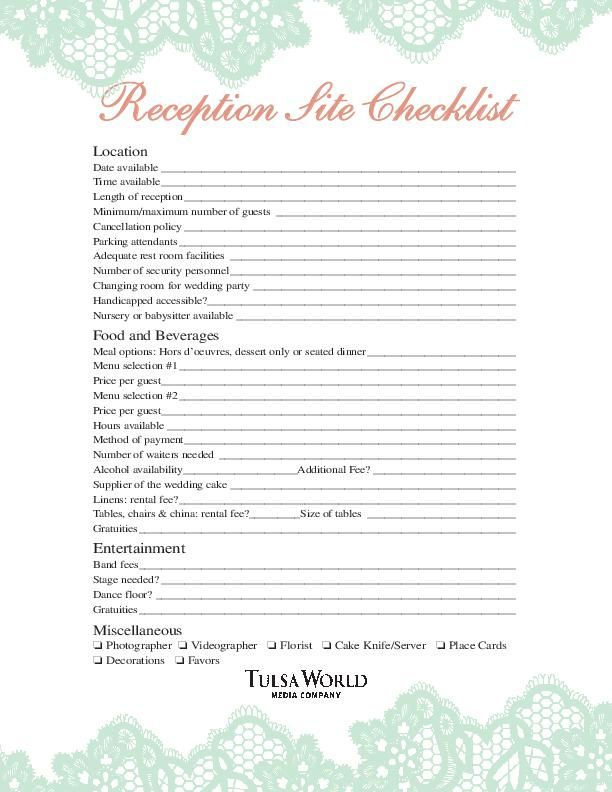 Reception Checklist Worksheet Tulsaworld Com