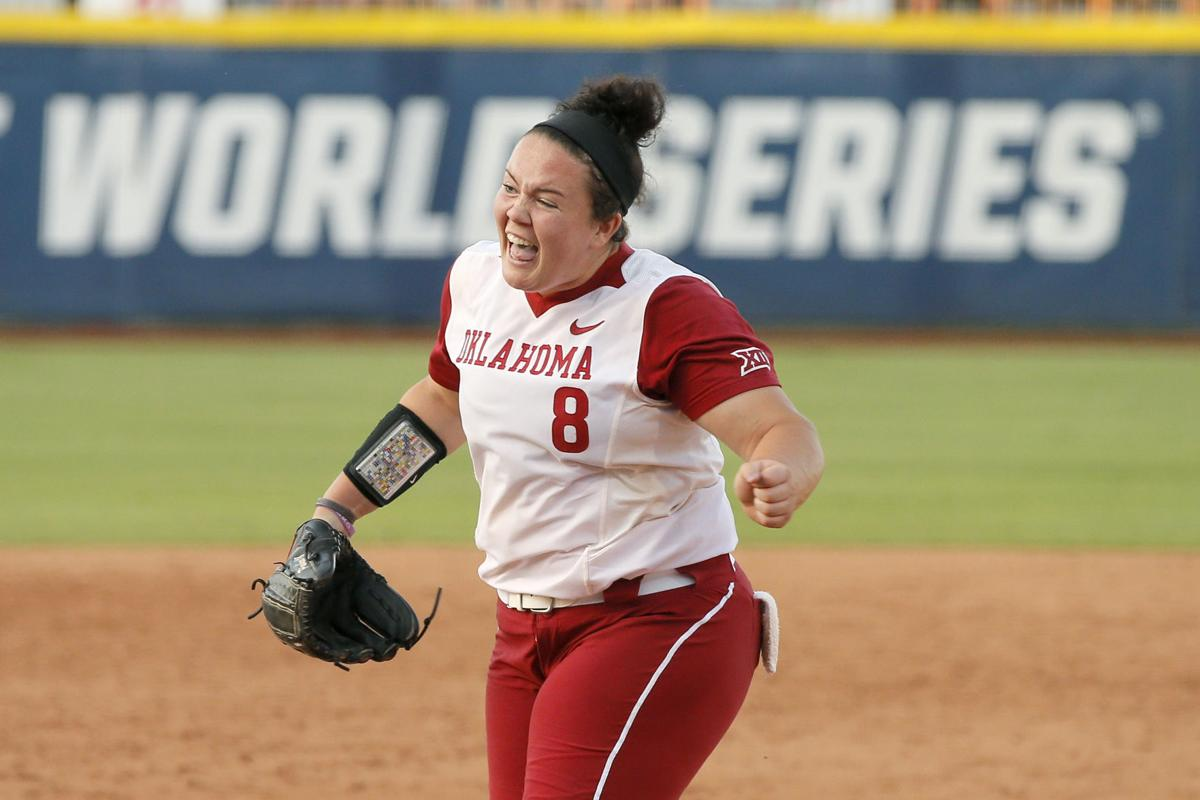 ba62faad6c1 Oklahoma's Paige Parker (8) celebrates after Oklahoma's win during a Women's  College World Series game between the University of Oklahoma (OU) and  Florida ...
