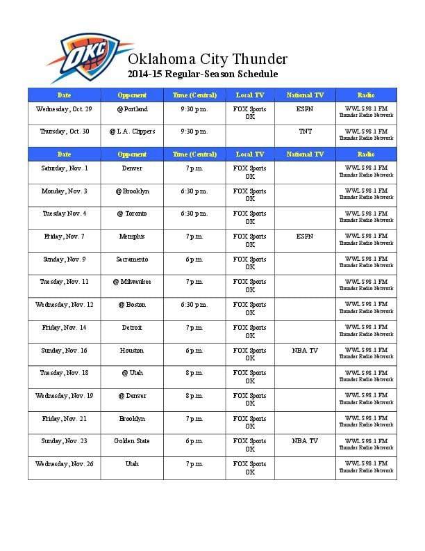 Okc Thunder 2016 17 Schedule Oklahoma City Thunder