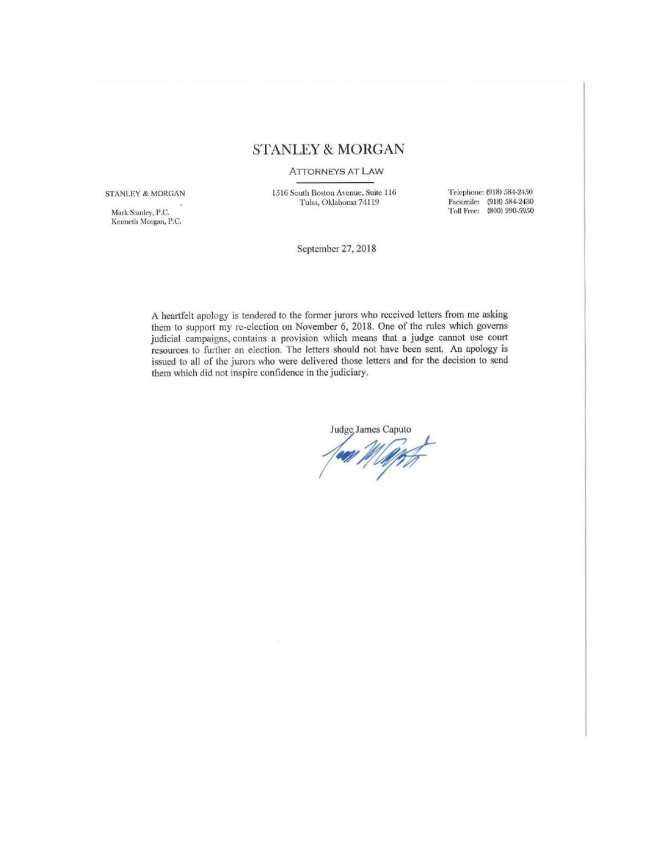 Apology Letter | Caputo S Apology Letter Tulsaworld Com