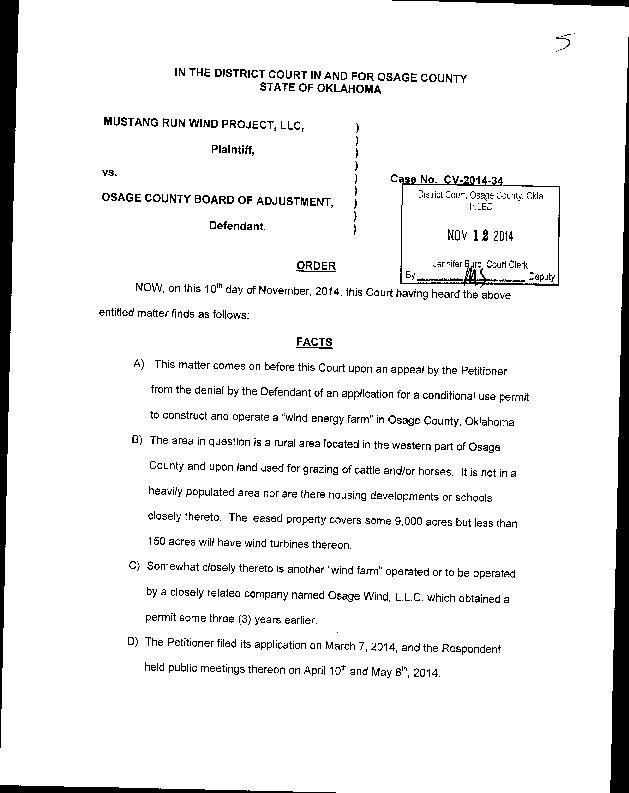 Court order on Mustang Run