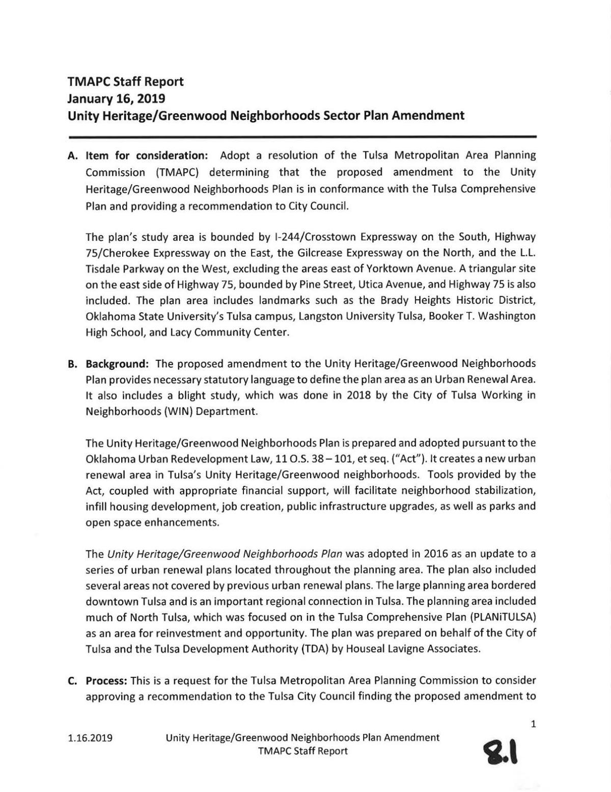 Unity Heritage/Greenwood Neighborhoods Sector Plan Amendment