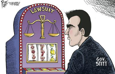 Bruce Plante Cartoon: Governor Stitt's big gamble - SMALLER