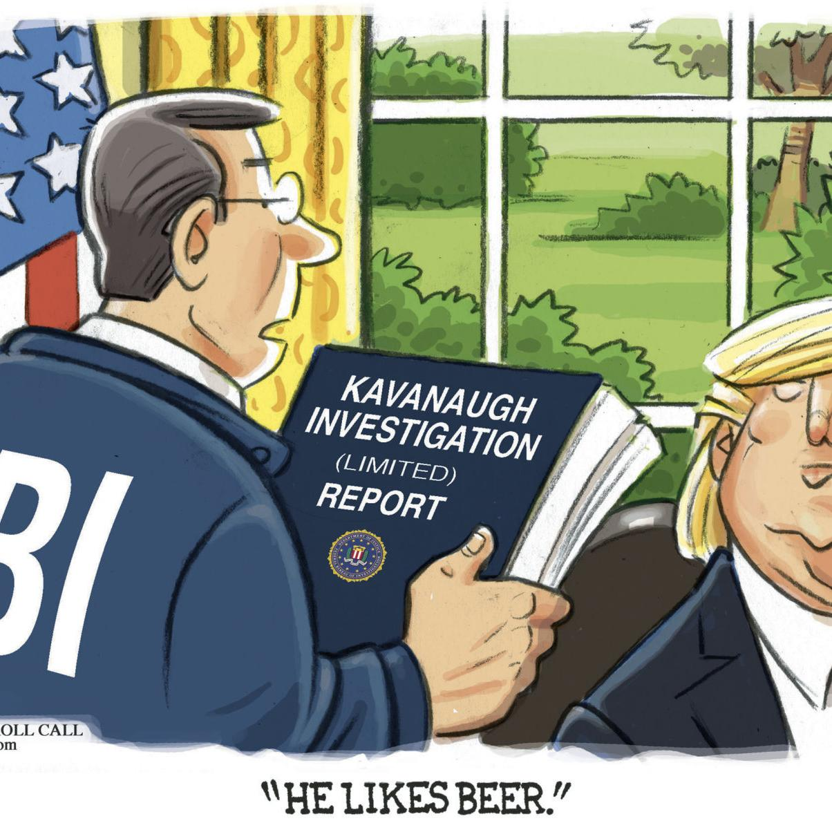 Image result for cartoons kavanaugh fbi confirmation