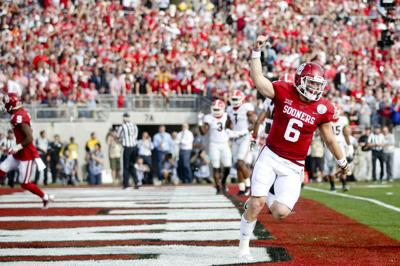 cacfe2a98 2018-01-02 sp-rosebowl. Buy Now. Oklahoma quarterback Baker Mayfield  celebrates after throwing a touchdown pass against Georgia in ...