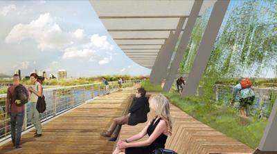 Pedestrian bridge rendering