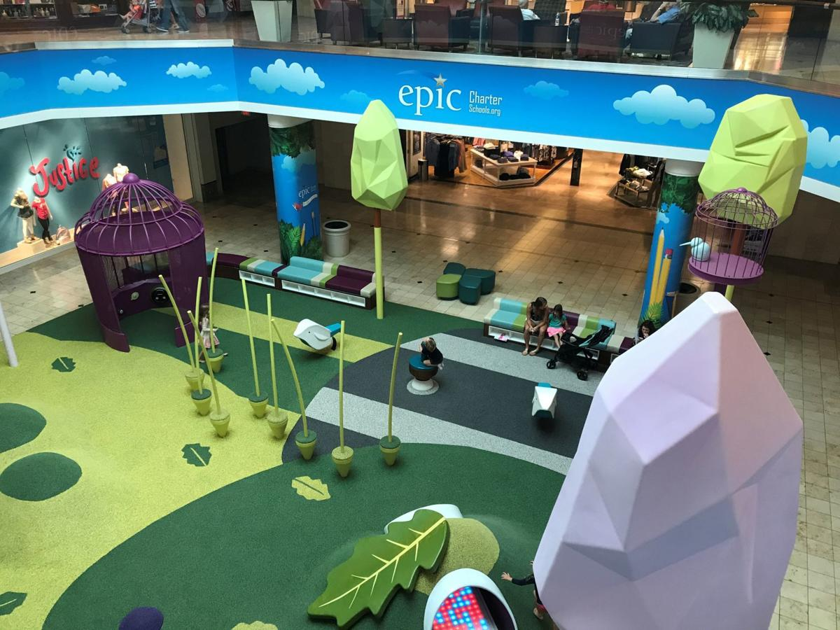 Overhead view of Epic-sponsored new indoor play area at Woodland Hills Mall.