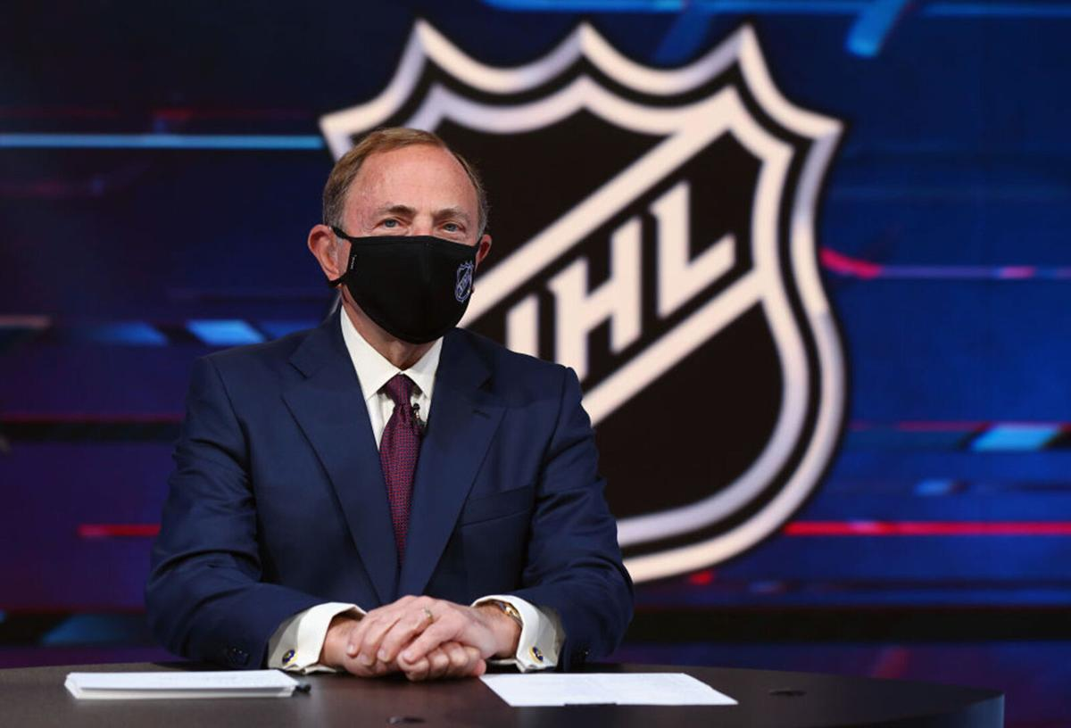 NHL commissioner Gary Bettman prepares for the first round of the 2020 National Hockey League Draft at the NHL Network Studio on Oct. 6, 2020 in Secaucus, New Jersey.