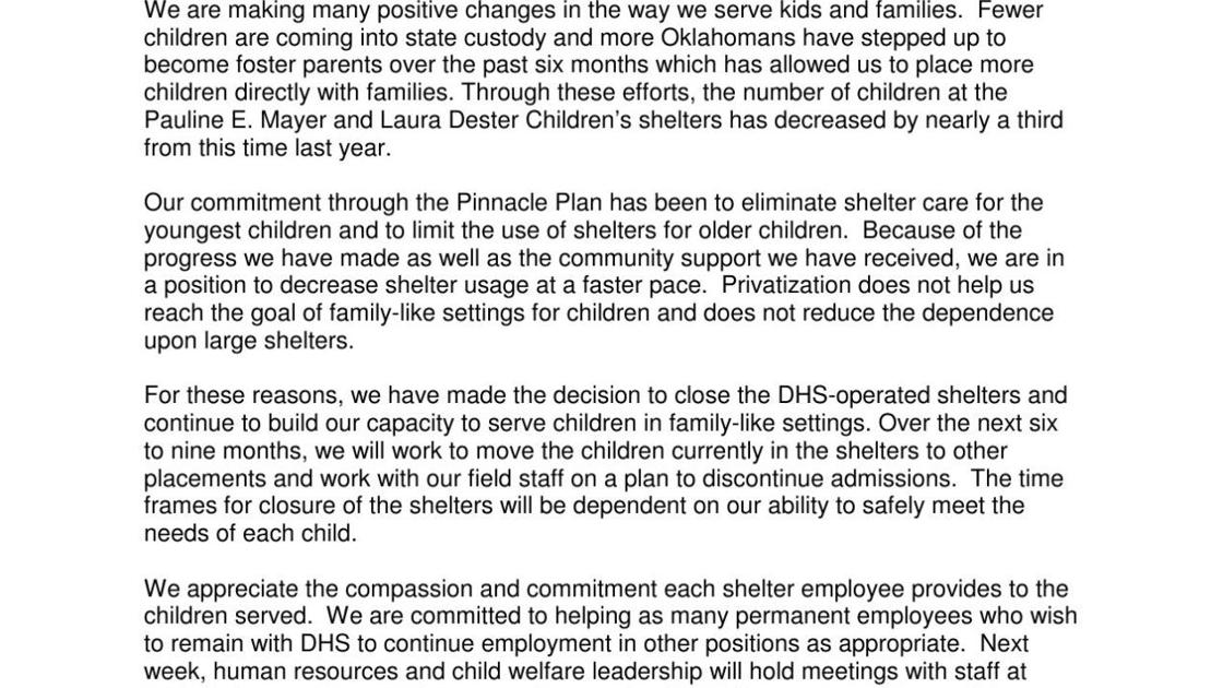 Letter from DHS director Ed Lake on shelters closing