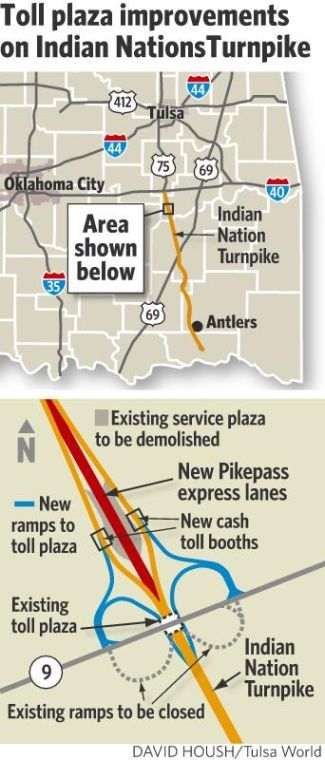 Toll plaza improvements on Indian Nation Turnpike map