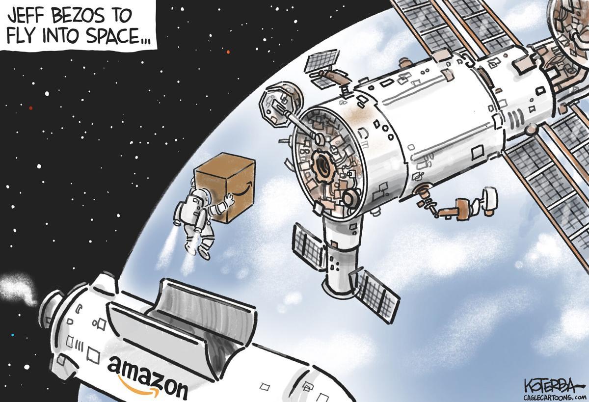 Cartoon: Bezos Goes to Space by Jeff Koterba