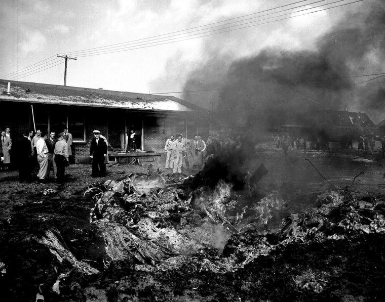 B-47 smoldering debris