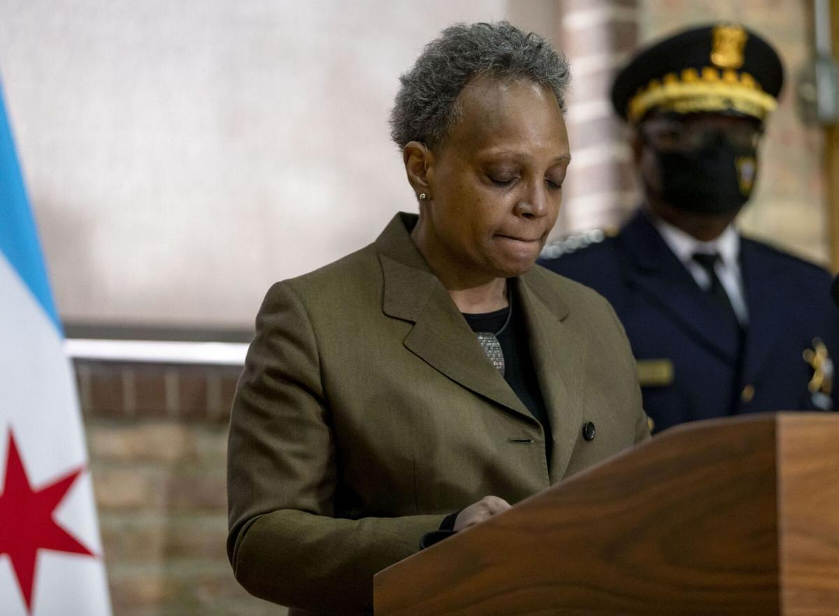 Mayor Lori Lightfoot and Chicago police Superintendent David Brown speak April 5, 2021, at New Life Church about the shooting death of 13- year-old Adam Toledo by a Chicago police officer.