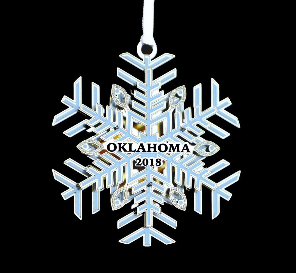 Oklahoma Governors Mansion Christmas Orniments For 2020 Snowflake is official state of Oklahoma holiday ornament; sales