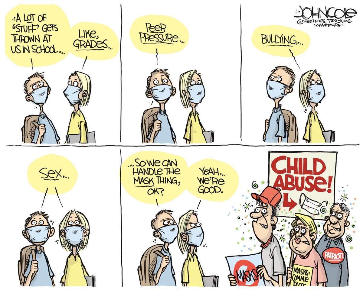 Cartoon: Kids and Masks by John Cole