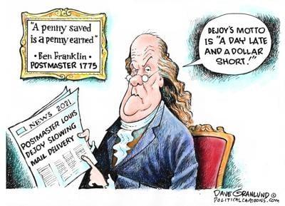 Cartoon: USPS Dejoy Slower Mail by Dave Granlund