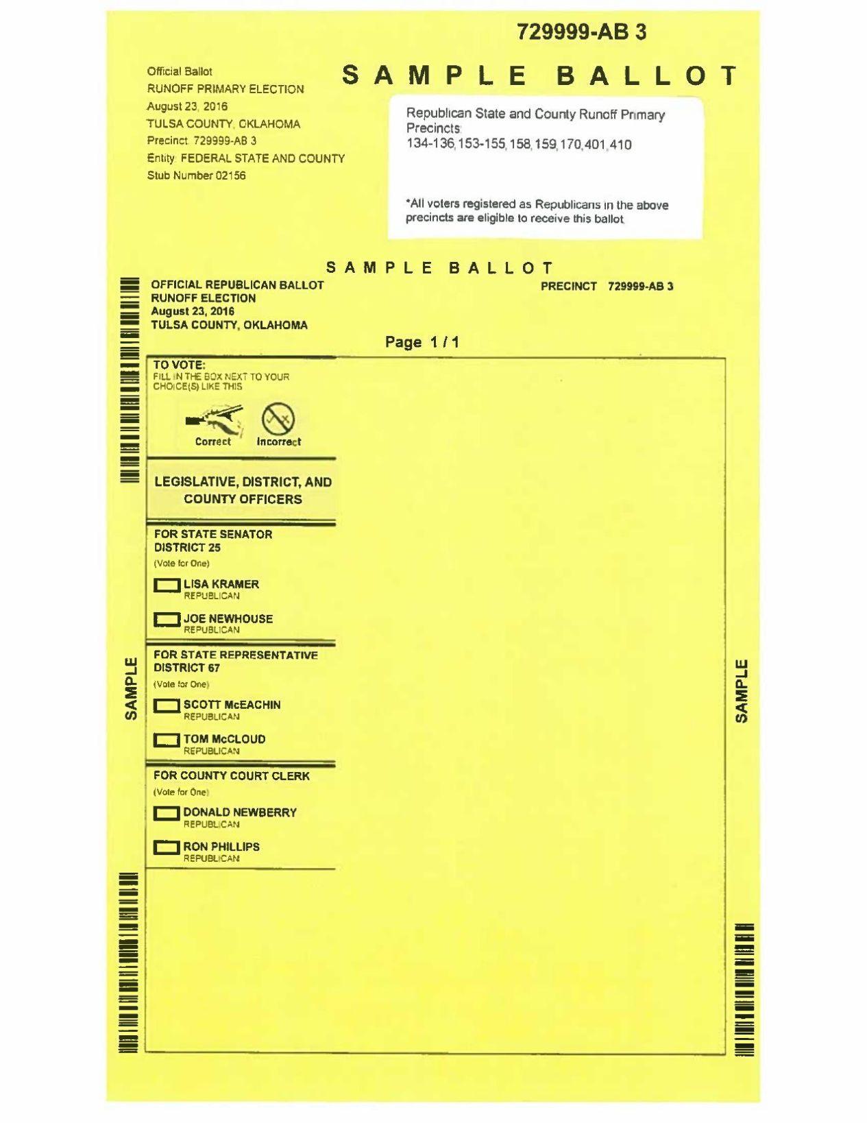 Tulsa County sample ballot | | tulsaworld.com